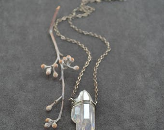 Crystal Necklace, Long Quartz Necklace, Raw Quartz Pendant, White Pendant, White Quartz, Long Oxidized Sterling Silver Wire Wrap Pendant