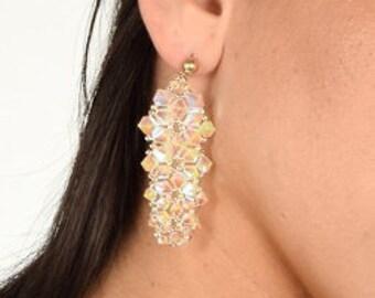 Crystal earrings Long earrings Wedding earring Long chandelier earrings Top valentine gifts Special valentine gift Valentines jewelry OOAK