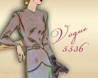 Sewing Pattern 1940s Vogue Dress One Piece with Slim 4 Piece Skirt Front Peplum Shallow Shaped Neckline * Pleats at Shoulders Vogue 5536