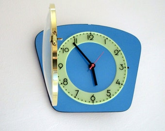 French 1950-60s Atomic Age Light BLUE Formica Wall Clock - Funky Freeform Shape - Good Working Condition