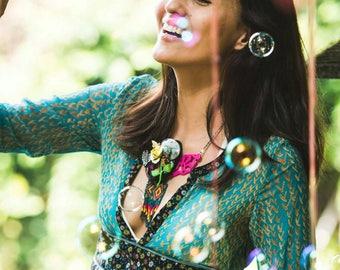 Bohemian Silk Dress - Tsumori Chisato Designer - Summer Gypsy Style