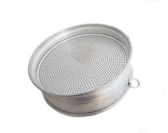 Vintage Italian Aluminum Sieve Strainer Colander with Hanging Loop Wall Decor Farmhouse Kitchen Shabby Country Cottage Home Decor - 1970s