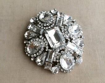SLIGHT SECOND - wedding brooch, wedding brooch, silver Art deco brooch, LARGE, crystal brooch, bridal brooch, brooch pin,