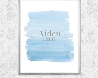 Baby Boy Gift, First Birthday, Blue and Gray Decor, 8x10, Pastel Blue Boys Print, Boys Nursery Decor, Pale Blue Print, Boys Nursery Art