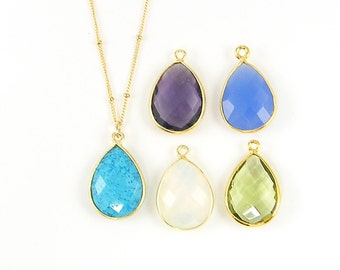 Teardrop Gemstone Necklace, Gold Framed Stone Simple 14KT Gold Fill Chain, Bezel Gemstone Pendant Layering Statement Necklace |DRW2