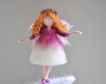 Purple Fairy  Felted Doll Wool Ornament    :  Purple flower fairy on the feather