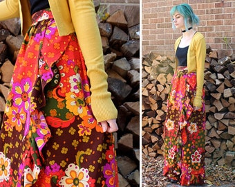 Vintage Print MAXI SKIRT Flower Child HIPPIE Long Open Wrap Ruffle Retro 60s 70s Mod Floral Paisley Psychedelic Poly Knit Skirt X-Small Size