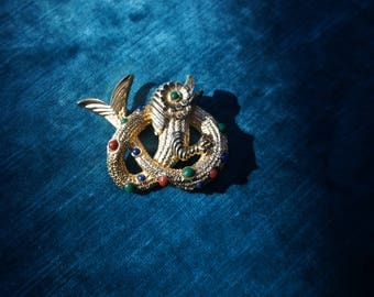 JEWELED SEA SERPENT 1960's Signed Coro Brooch