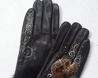 Black Leather Gloves - Hand painted - SIZE 7.5 - ready to ship - autumn - spring - winter - great gift- black- brown -white-  vintage gloves