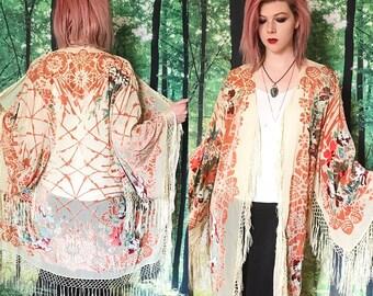 1970s Orange Floral Earth Tone Sheer Burnout Velvet Fringe Kimono Duster