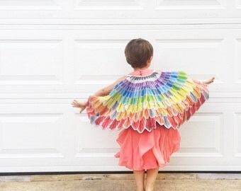 Rainbow feather wings cape Halloween dress up pretend play cloak