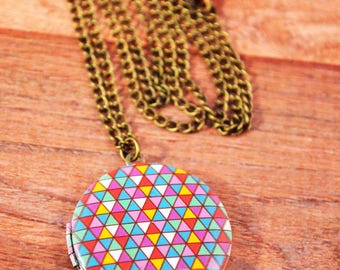 Colorful Geometric Locket Antique Bronze, Wedding Gift, Locket Jewelry, Printed Locket Jewelry, Locket Necklace, Neon Locket Gift