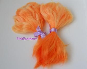 Angora Mohair locks ~ 6inch Pumpkin Orange with deep Orange tips 10 grams ~ doll hair reroot bjd doll wig
