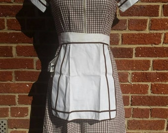 Original 40s 50s Vintage Diner Waitress Dress and Apron Angelica Uniforms XS S New Old Stock