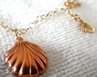 """Gold and Copper Shell 12"""" Anklet"""