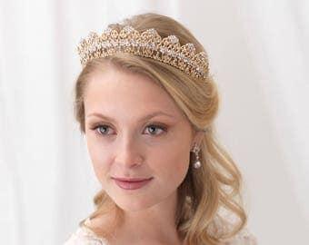 Gold Bridal Crown, Gold Wedding Tiara, Gold Bridal Tiara, Gold Wedding Crown, Rhinestone Crown, Gold Headpiece, Bridal Accessory ~TI-3301