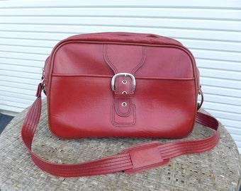 Red Leatherette Flight Bag Vintage Sears Vinyl Shoulder Bag Laptop Case Carry On Overnight Luggage Sports Gym Gear