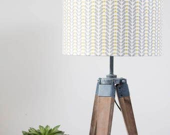 Mustard and grey scandi design linen lampshade