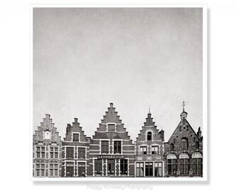 Monochrome Art Print of Bruges, Belgium, Perfect Living Room Art or Gift for Traveller, Brugge, Picturesque, Wanderlust