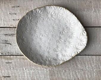 SERVING BOWL - flowers stamped bowl - matt white ceramics - organic form bowl