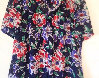 1990s vintage blouse short sleeve blouse 1990s navy blue shirt red and white floral blouse Large XL blouse large top sheer blue  vintage top
