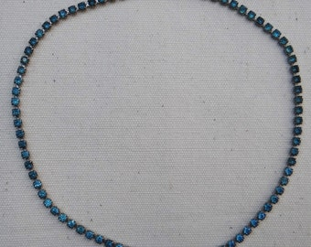 """BLUE Rhinestone COLLAR/CHOKER Style Necklace w/Foldover Clasp, 13"""" in Length"""