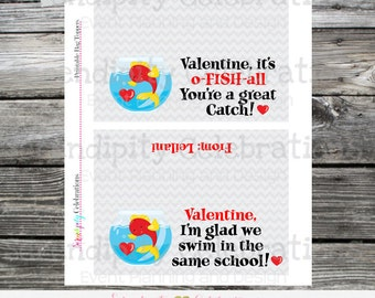 Valentine Bag Toppers, DIY Digital Treat Bag Toppers, Goldfish Bag Topper , School Treats, Holiday, Valentine's Day, Non Candy Valentines