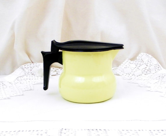 Vintage French Bright Buttercup Yellow Mid Century Enamelware Lidded Pitcher, Enamel Jug, Retro Kitchenware, Vessel, Brocante, Home, Kitchen