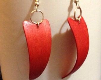 Wood Fang Earrings in Red Gift Wooden Earrings