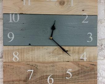 Wooden Clock - Large Wall Clock - Rustic Clock - Chalkpaint Clock - Reclaimed Wood Clock - Rustic Clock - Duck Egg Blue