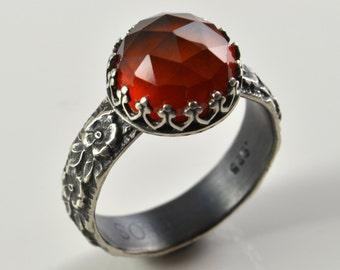 Garnet Ring in Sterling Silver, Faceted Hessonite Garnet Stone, January Birthstone, Cocktail Statement Gemstone Ring