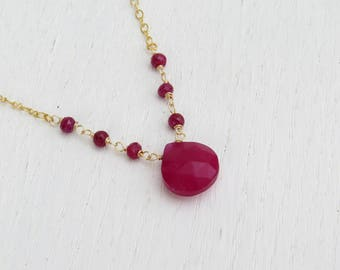 Genuine ruby necklace, July birthstone jewelry, Red bead necklace
