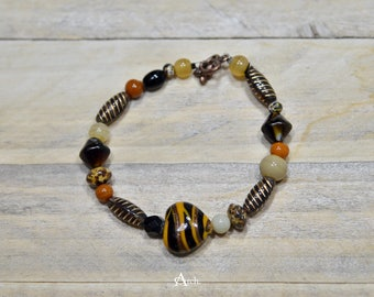 Beaded Bracelet - Brown, Yellow, Copper, Orange, and Tan