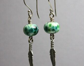 Green Tribal Earrings, Green Lampwork Earrings, Feather Earrings, Green Dangle Earrings, Earrings with Feathers, Kathy Bankston, Earrings