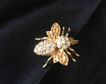 Bee rhinestone brooch pin 925 sterling silver gold plated pendant classic  Brooch Pendant Combo Gold rhinestone Bee jewelry gift for her