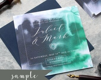 SAMPLE || Navy and Green Watercolour Wedding Invitation, Geode Agate style