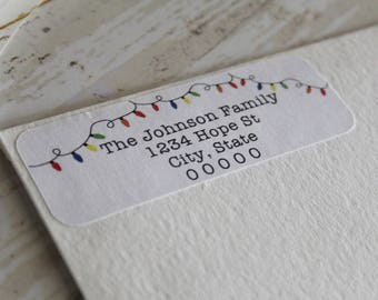 Return Address Label, Christmas Lights, Address Labels, Mailing Labels, Christmas Cards