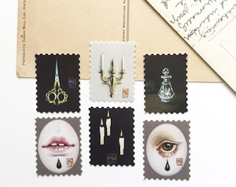 Sticker pack #3, artistamps, faux postage, weird stickers, pop surrealism, stationery, scrapbooking, creepy Victoriana, Goth