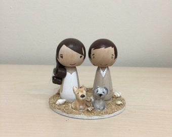 Custom Wedding Kokeshi Cake Topper with 2 Pets