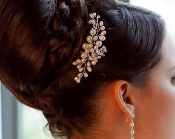 Swarovski and Freshwater  Pearl and Crystal Bridal Hair  Comb , Bridal pearl hair accessory, wedding hair pin, pearl crystal head piece