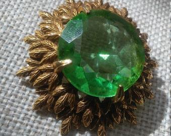 Vintage Schrager Brooch Green cut glass