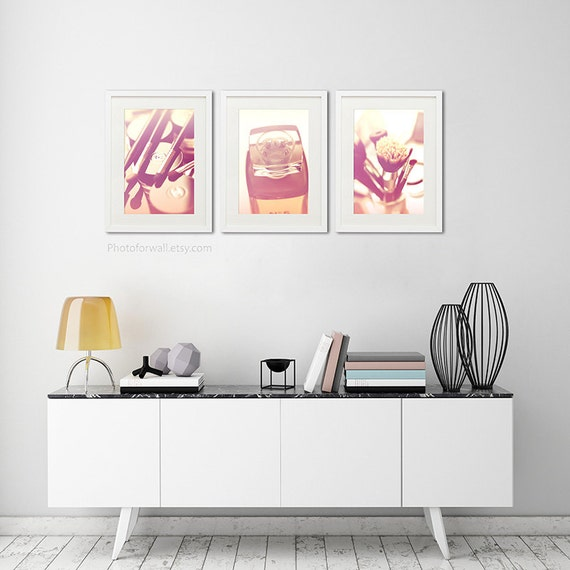 Bathroom Art Set Of 3 Photographs Chanel Bathroom Set Pink