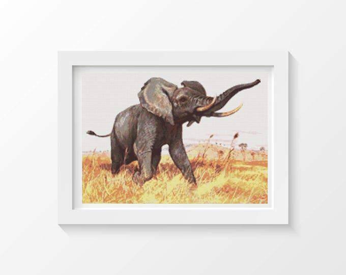 Cross Stitch Pattern PDF, Embroidery Chart, Art Cross Stitch, African Elephant by Friedrich Wilhelm Kuhnert (KUHNE01)