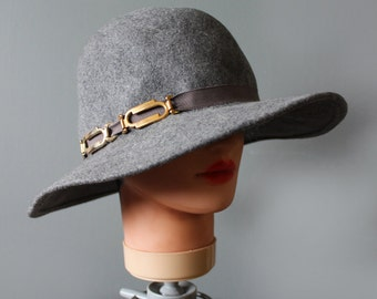 FREE Shipping vintage wool Wide Brim Hat Small Fedora Gray Bowler