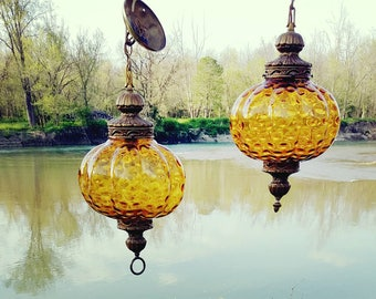 pair of antique globe lamps on chain swag lamp brass chain