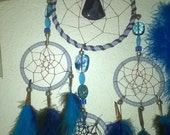Drifting Away on a Cloud- Dream Catcher handmade with a flurry of blue lavender beading turquoise teal by Dreamcatcherman-