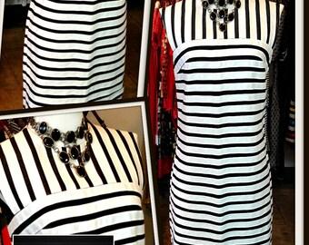 Vintage Black and White Linen Shift Sheath Dress FREE SHIPPING