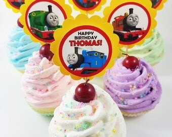 Personalized Thomas and Friends Cupcake Toppers
