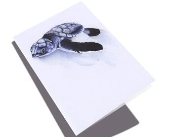 Baby Turtle A6 Greeting Card // Small print of my Turtle Watercolour Painting // A6 art print