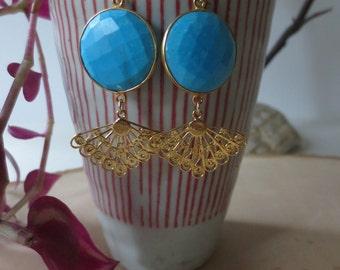 Turquoise earrings, turquoise dangle earrings, turquoise gold earrings, turquoise drop earrings